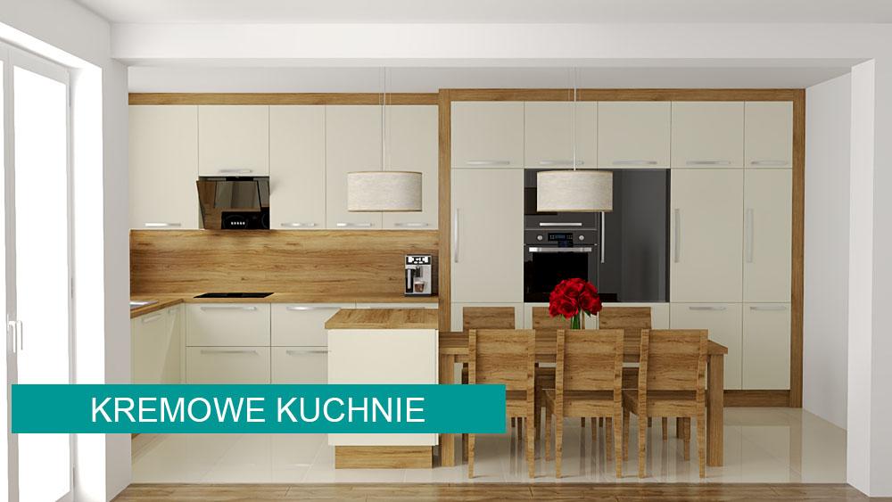 Kremowe projekty kuchni w koncept3d