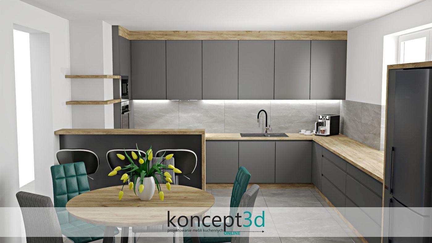 Projekt dużej kuchni w kolorze antracytu połączonego z drewnem | projektowanie mebli kuchennych koncept3d