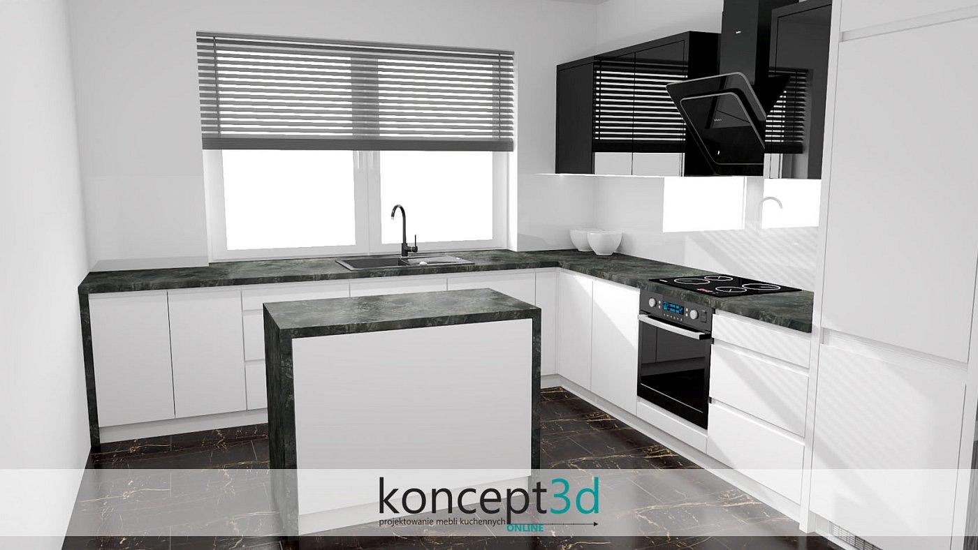Aranżacja czarno białej kuchnia z wyspą na środku | koncept3d projekty kuchni