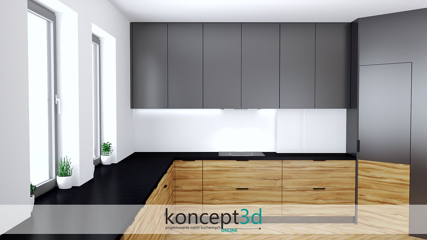 Aranżacja kuchni z szafkami w kolorze antracytu