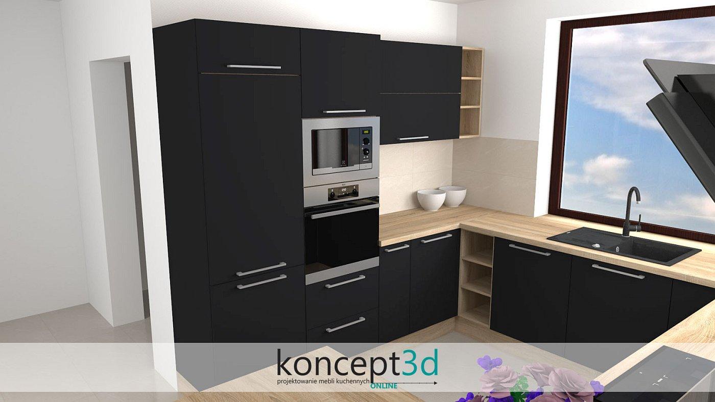 Projekt czarnej kuchni z drewnem i długimi uchwytami