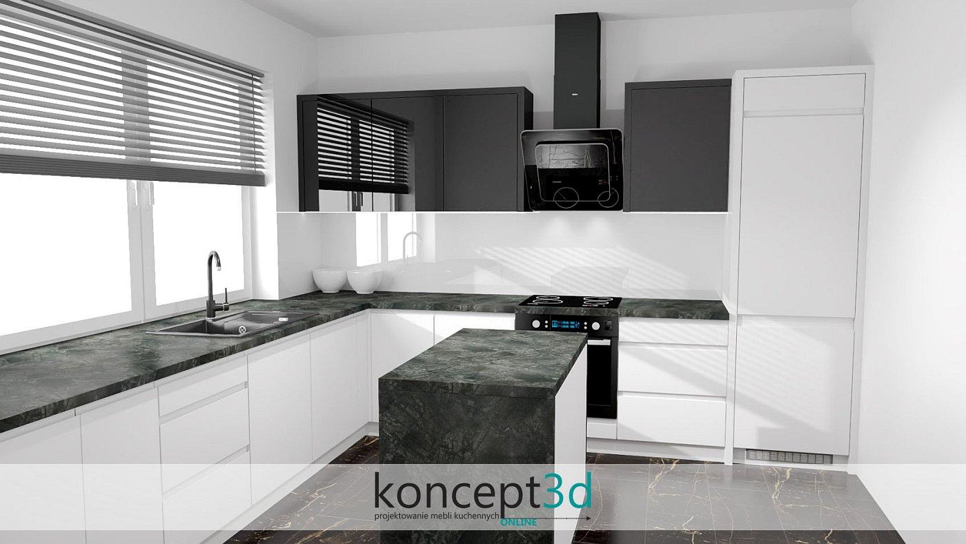 Bardzo ciemny blat w biało czarnej kuchni | koncept3d projekty kuchni