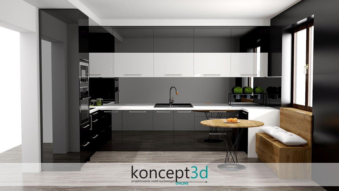 Czarno biała kuchnia z białym blatem i czarnym AGD | koncept3d projekty kuchni