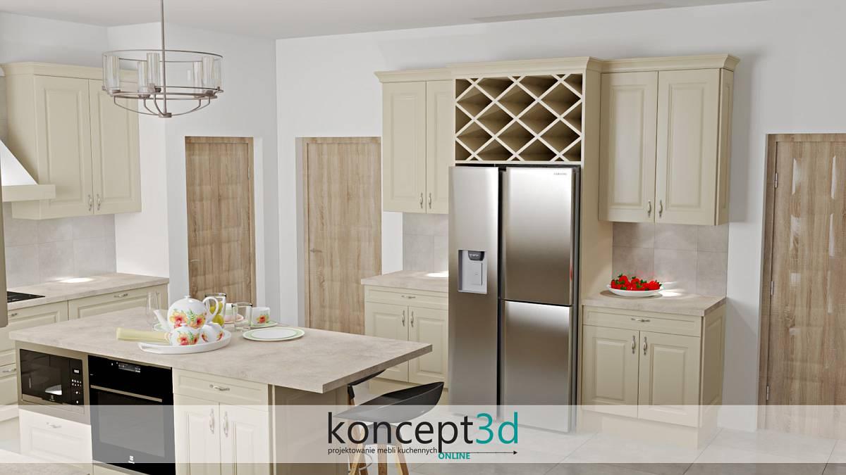 Klasyczna kremowa kuchnia z obudowaną lodówką SbS | projektowanie mebli kuchennych koncept3d