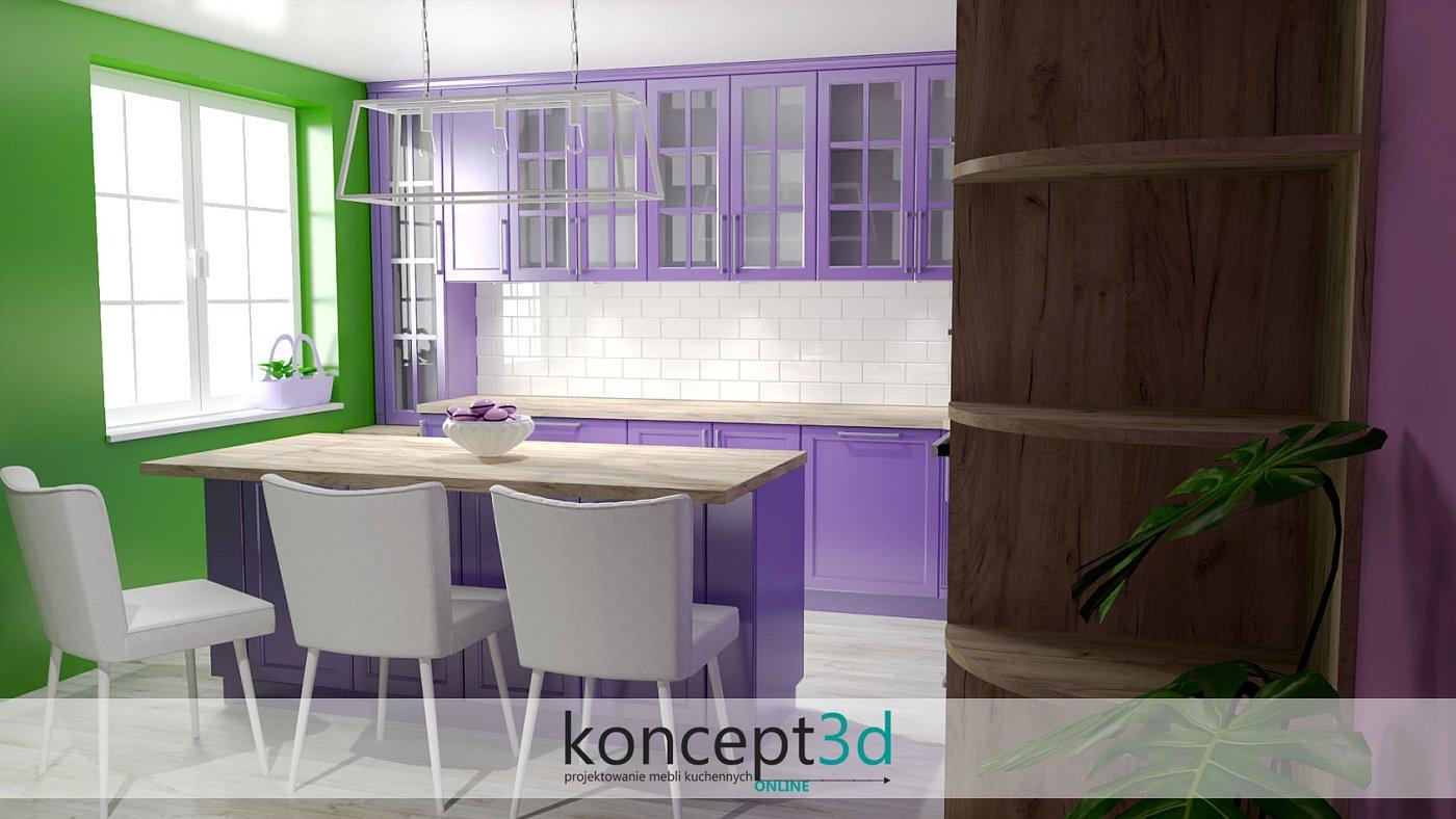 Zielona ściana w lawendowej kuchni sprytnie dodaje nam energii do działania i wyczynów kulinarnych