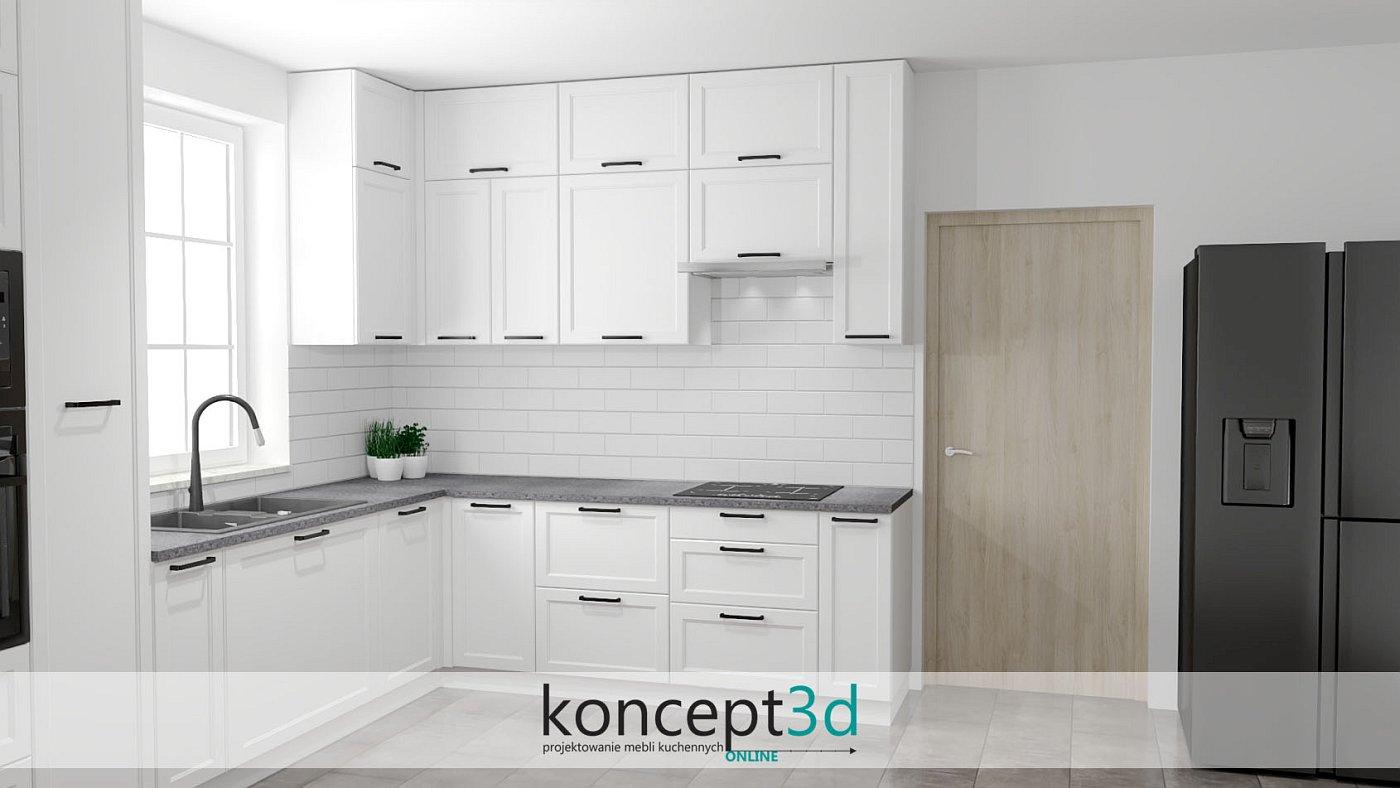 Biała kuchnia klasyczna z szarym blatem i białą cegłą na ścianie   projekty i aranżacje kuchni Kraków koncept3d