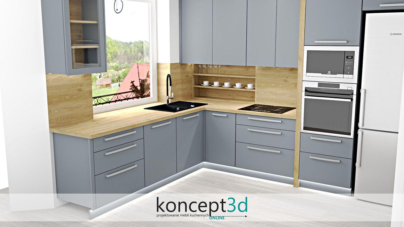 Nieważne czy połysk czy mat, szara kuchnia z drewnem zawsze wygląda obłędnie   koncept3d projekty kuchni