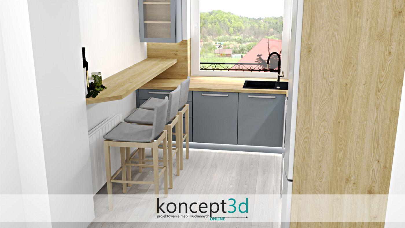 Szara kuchnia z drewnianą ladą do siedzenia i wysokimi krzesłami   koncept3d projekty kuchni