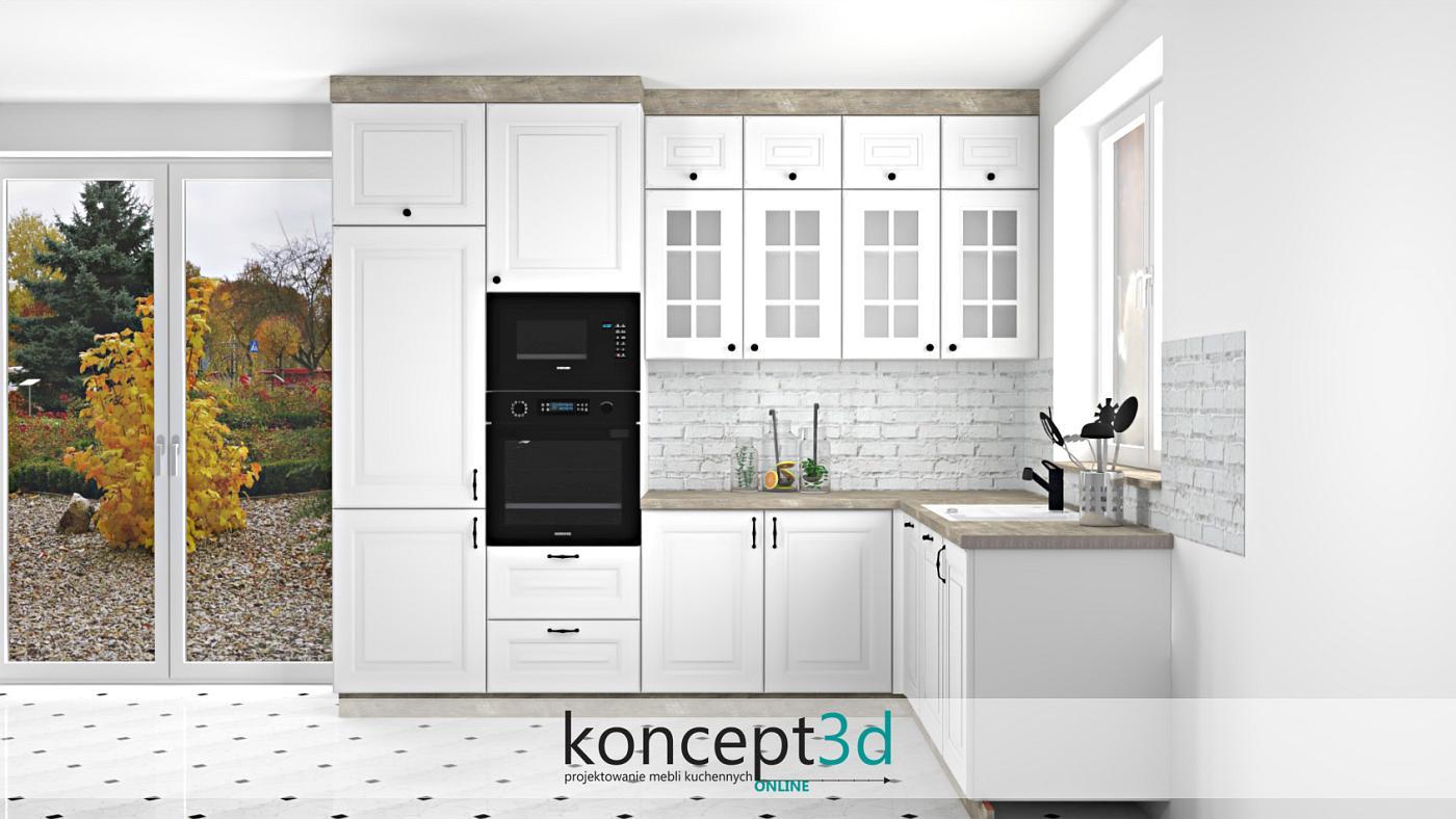 Klasyczne meble kuchenne białe z kamiennym blatem i cegłą na ścianie   projekty kuchni online koncept3d