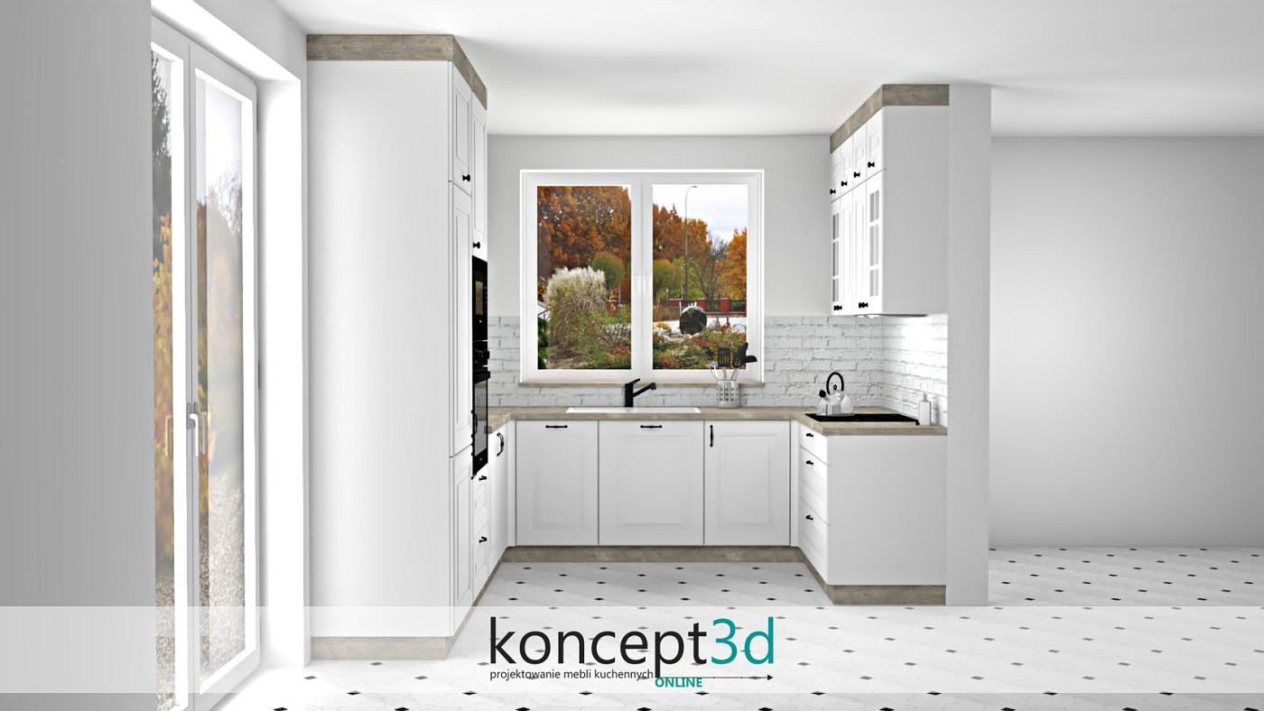 Zabudowa ściany w kuchni z niesymetrycznej białej cegły