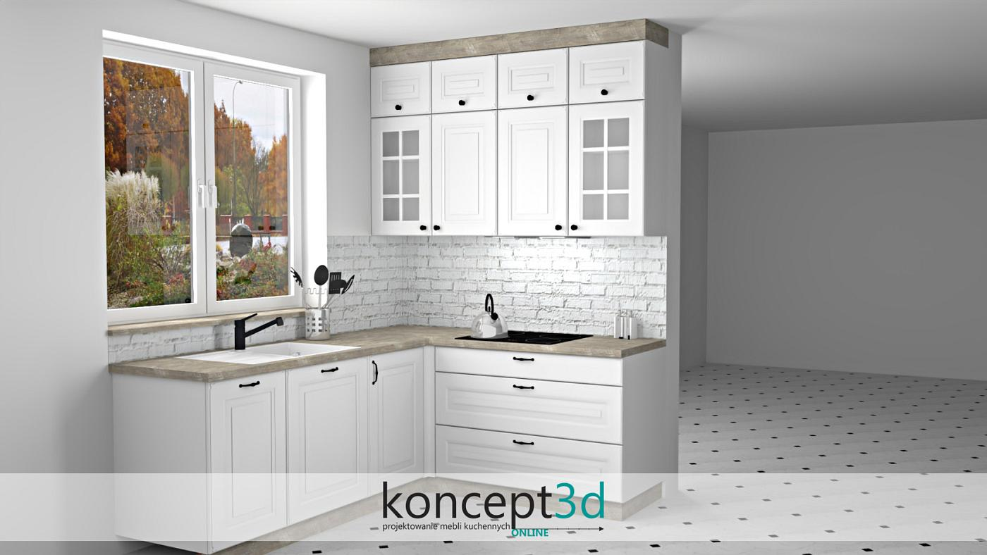 Kuchnia klasyczna biała z cegłą na ścianie i białym zlewem   aranżacje kuchenne koncept3d