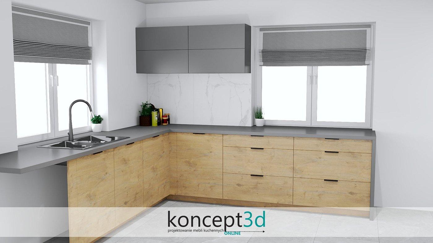 Projekty kuchni drewnianych z antracytem to częste połączenie
