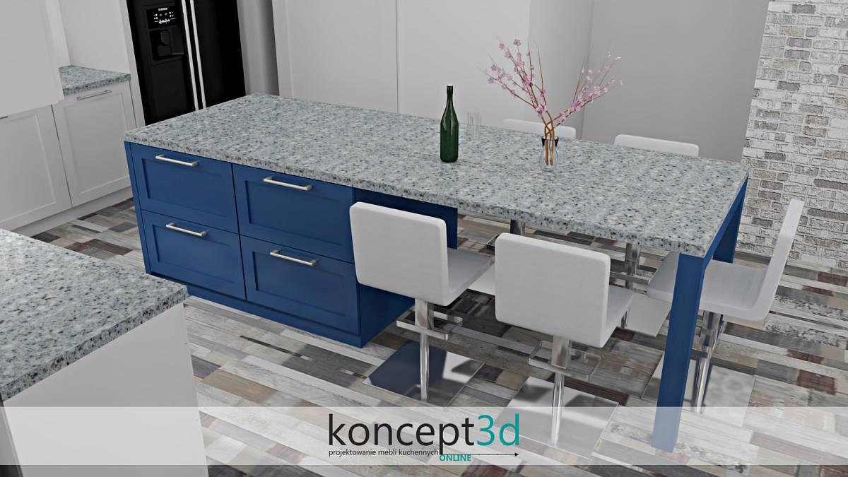 Kuchnia z niebieską wyspą i miejscem na krzesła | koncept3d projekty kuchni