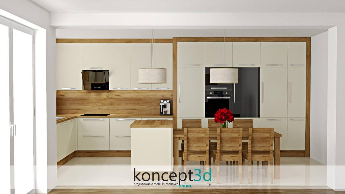 Duża wyspa kuchenna na środku pomieszczenia | koncept3d projekty kuchni