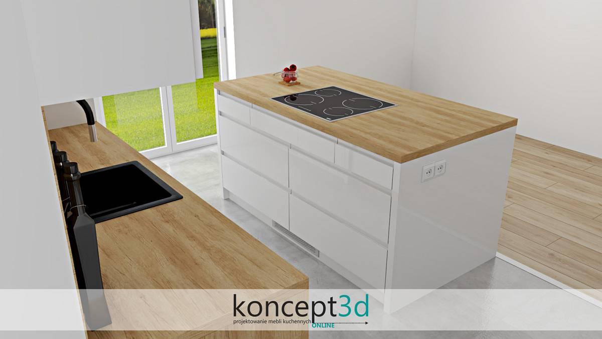Wolnostojąca wyspa w kuchni z drewnianym blatem i płytą grzewczą | koncept3d projekty kuchni