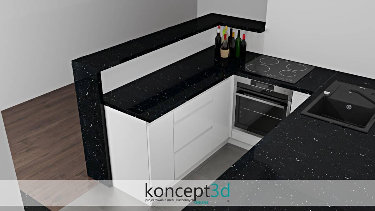 Niewielka kuchnia z dużym półwyspem na trzy krzesła | koncept3d projekty
