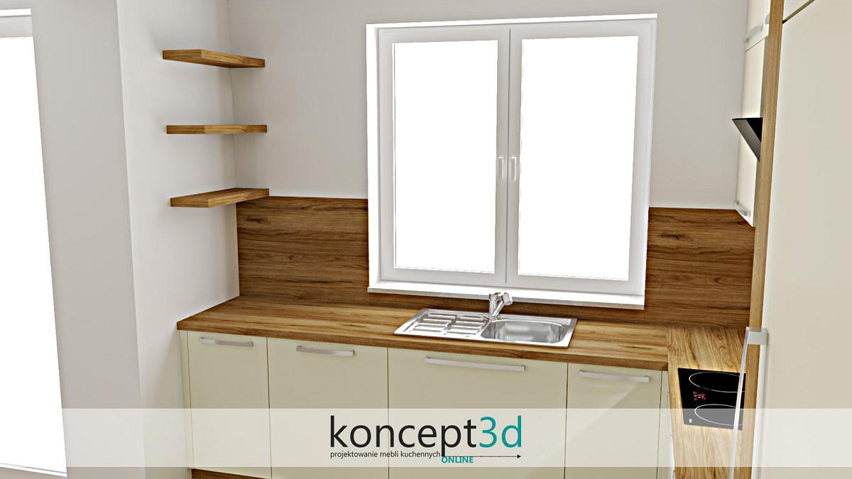 Drewniane półeczki w beżowej kuchni z oknem