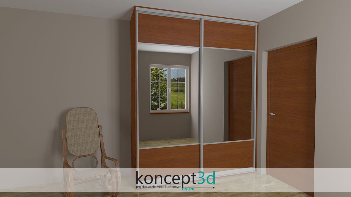 2 x drzwi przesuwne z wysokim lustrem na środku