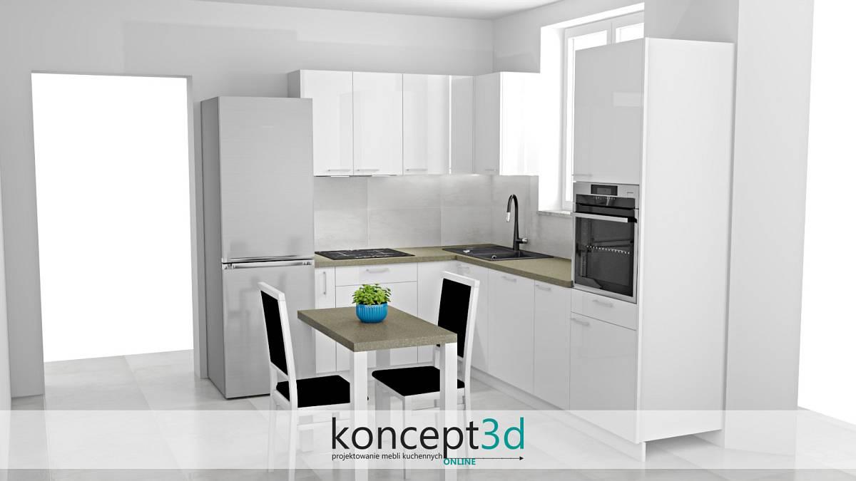 Biała mała kuchnia w mieszkaniu w bloku | koncept3d projekty kuchni