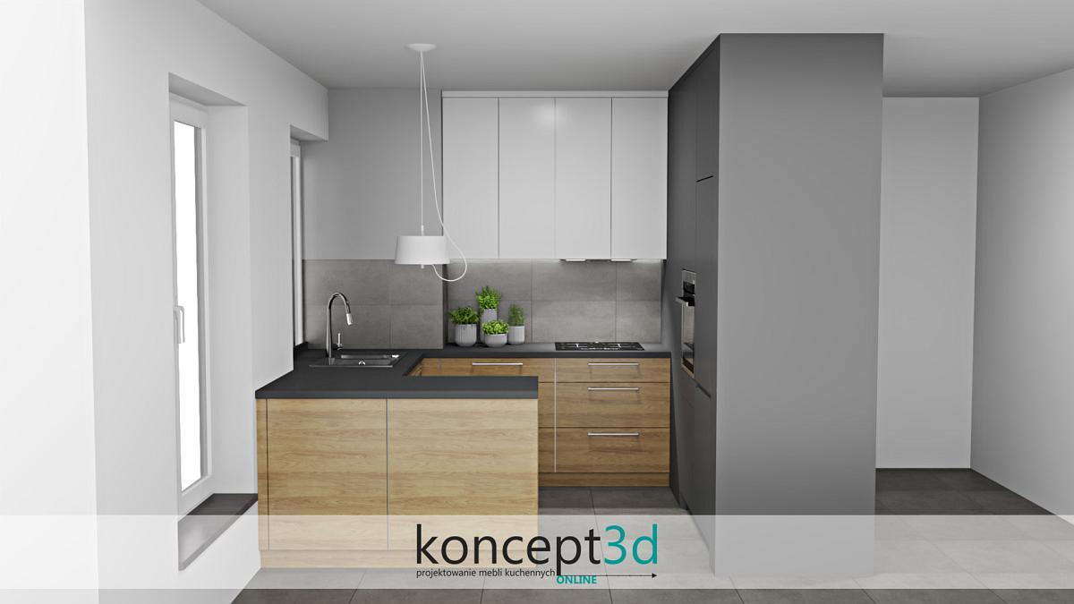 Mała nowoczesna kuchnia w trzech kolorach | koncept3d projekty kuchni