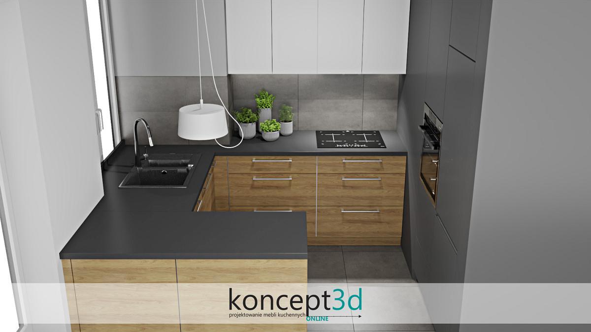 Aranżacja mebli kuchennych i szuflady pod blatem | koncept3d projekty kuchni