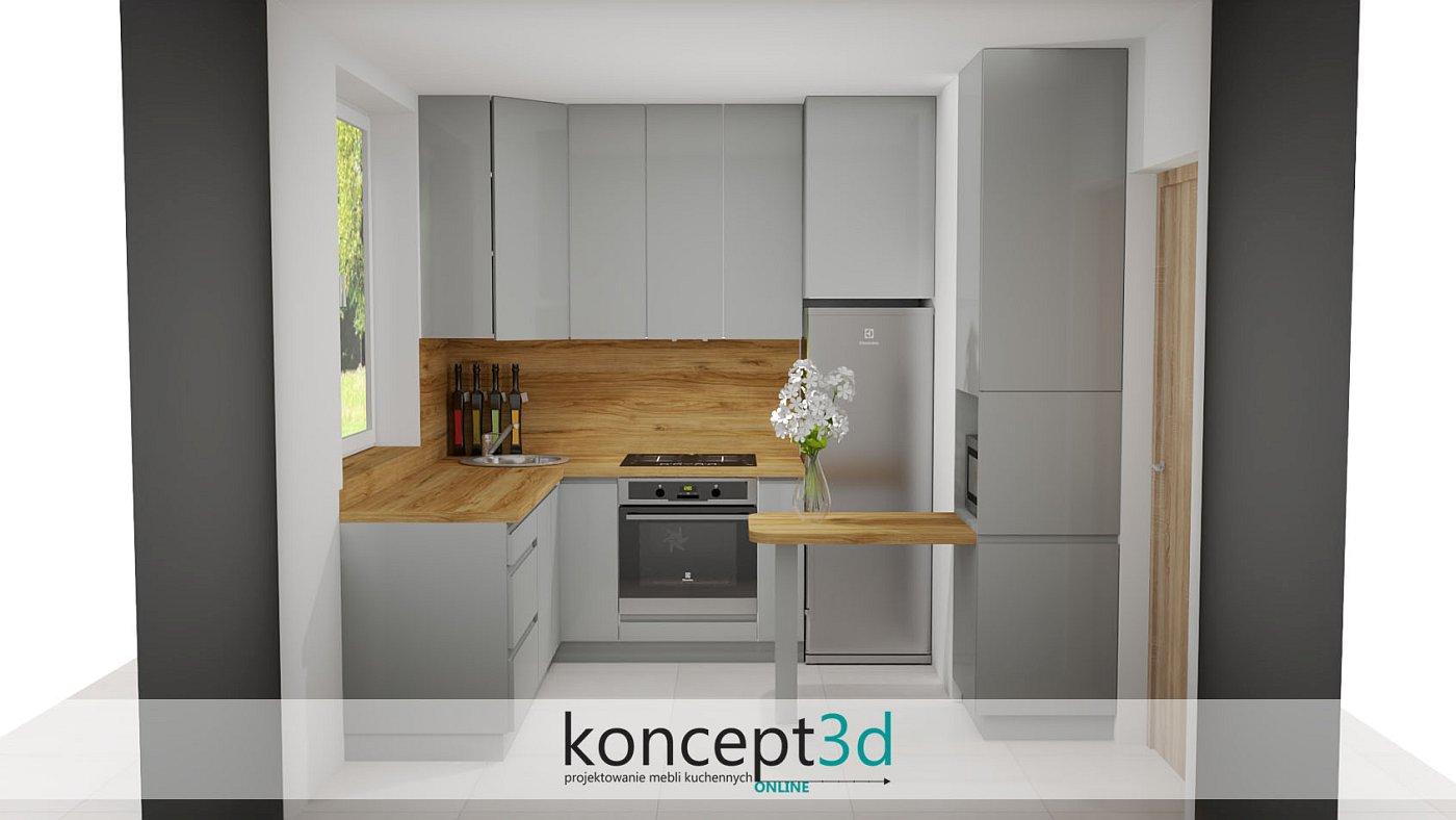 Projekt niewielkiej szarej kuchni w bloku   koncept3d projekty kuchni
