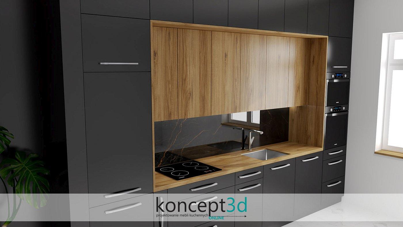 Pomysł na kuchnię czarną z drewnem | koncept3d aranżacje wnętrz