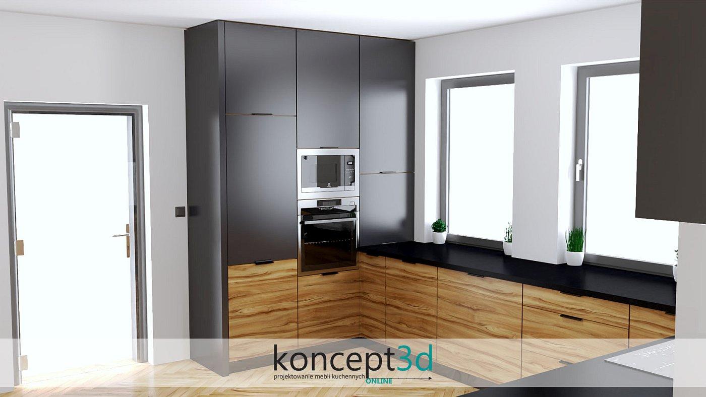 Kuchnia antracyt z drewnem i czarnym blatem | koncept3d projekty kuchni