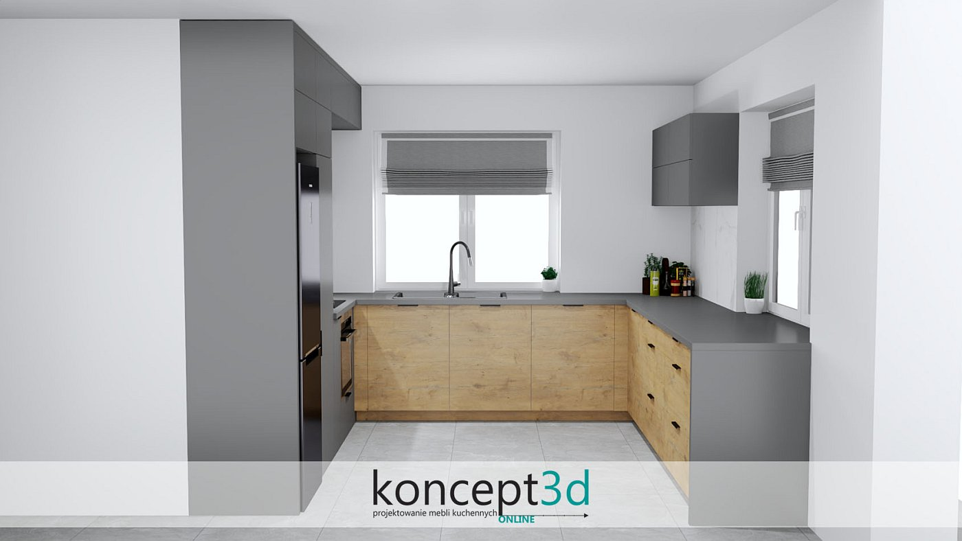 Projekt mebli kuchennych w kolorach antracytu i drewna dąb Lancelot | koncept3d projekty kuchni