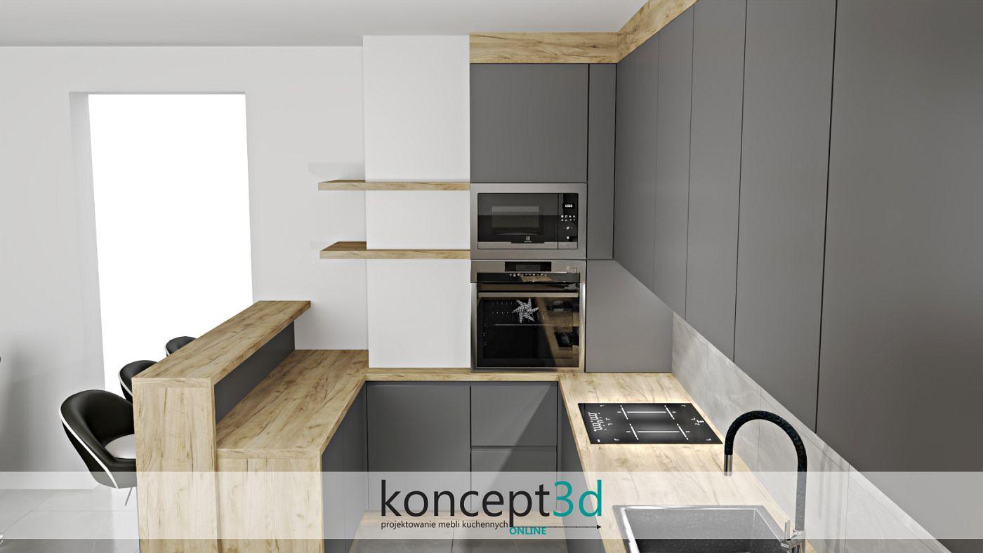 Kuchnia antracyt z drewnem i otwarte półeczki koło komina