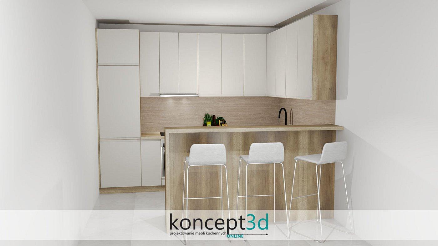 Kuchnia w połysku lakierowanym na kolor kremowy | koncept3d projekty kuchni