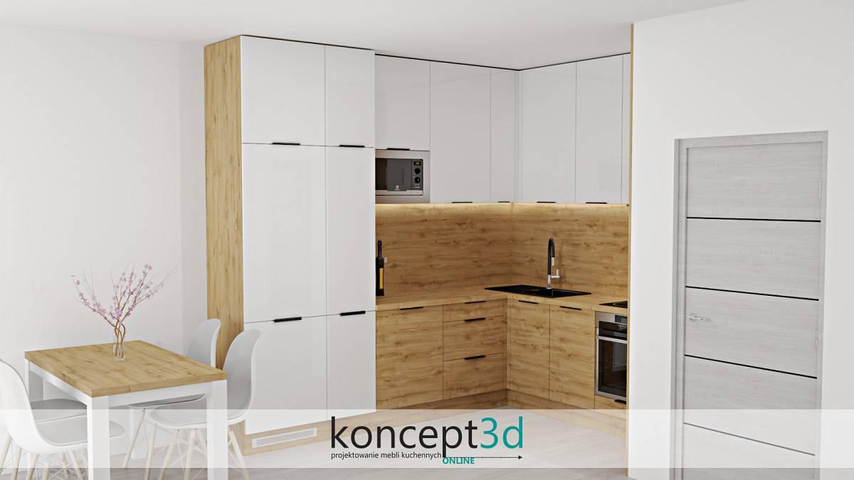 Kuchnia biała z drewnem i małym stolikiem   aranżacje kuchni