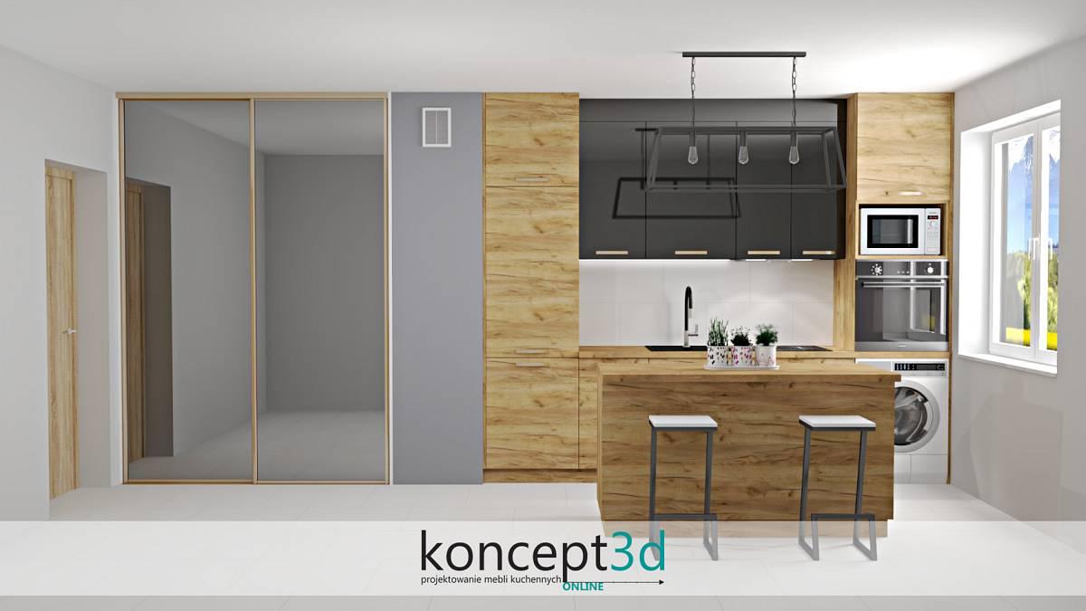 Projekt niewielkiej kuchni w drewnie i obok szafa z drzwiami przesuwnymi | koncept3d projekty kuchni