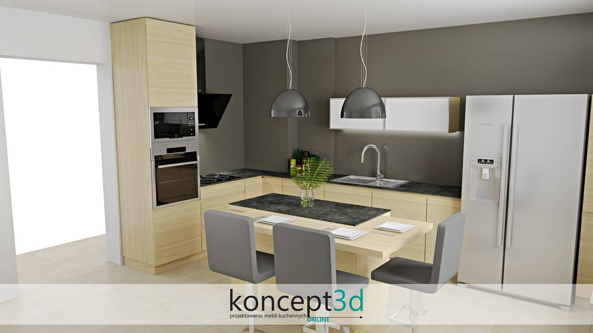 Kuchnia z wyspą i dużymi wiszącymi lampami | koncept3d projekty kuchni