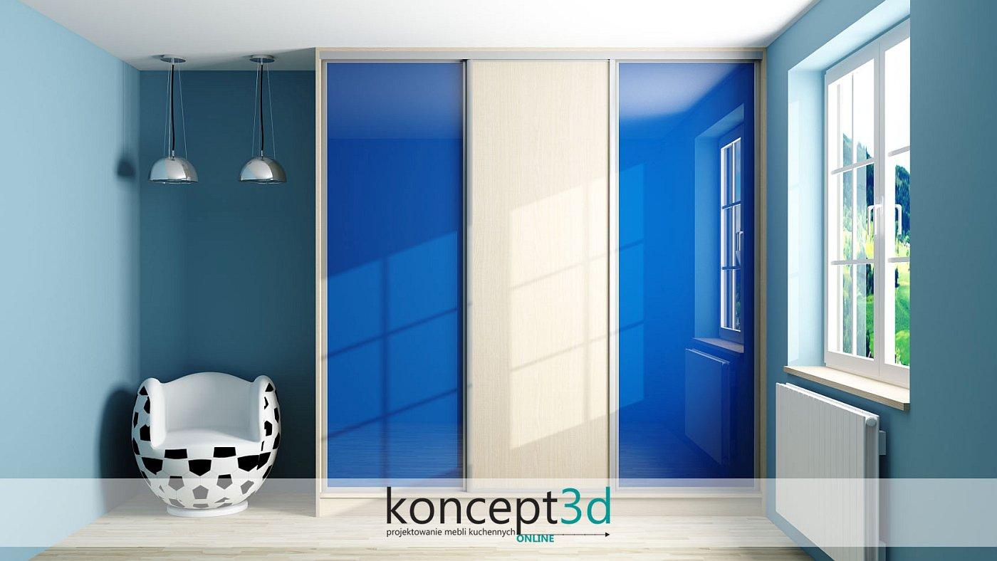 Niebieskie drzwi przesuwne w pokoju chłopca | koncept3d projekty kuchni