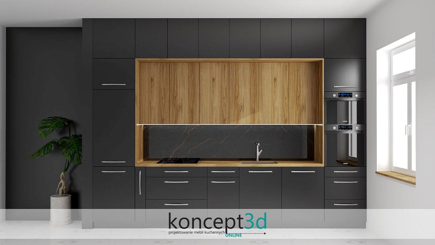 Aranżacja czarnej matowej małej kuchni z drewnianymi wiszącymi szafkami | koncept3d projekty kuchni