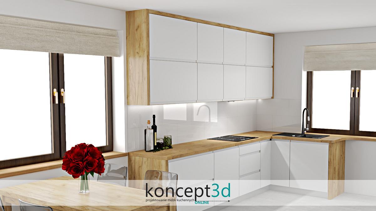 Nowoczesna biała kuchnia w drewnianej ramie   koncept3d projekty kuchni