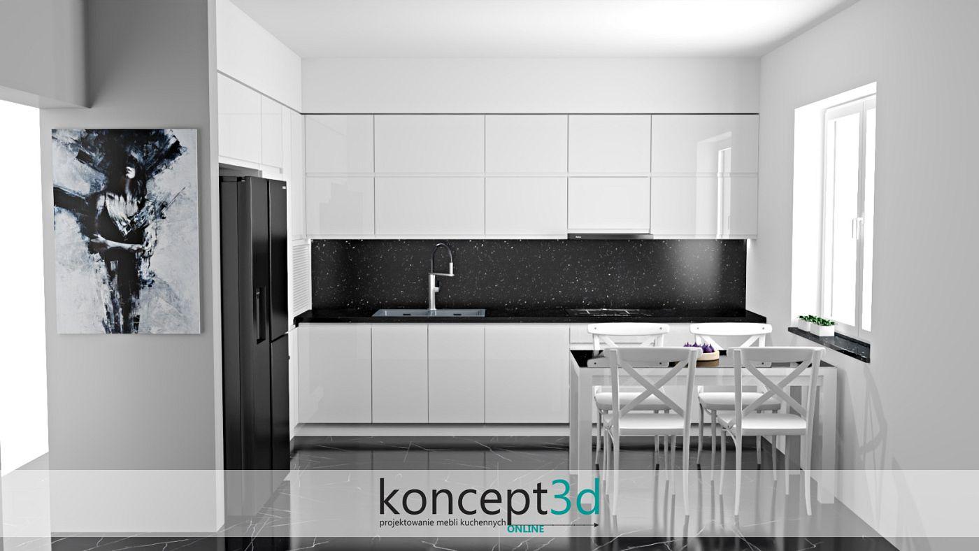 Ciemna zabudowa ściany nad blatem w formie czarnego laminatu | koncept3d projekty kuchni