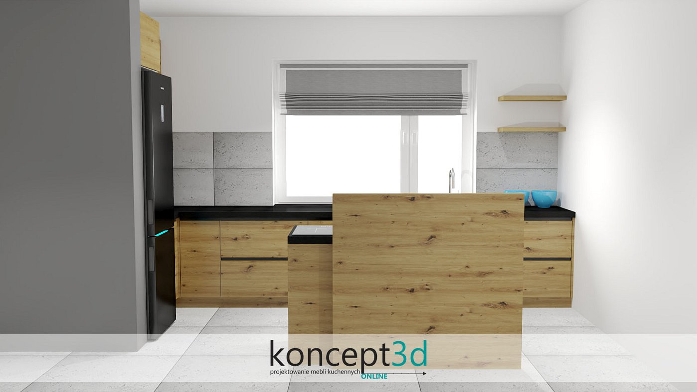 Ciekawy projekt drewnianej lady na środku pomieszczenia | koncept3d projekty kuchni