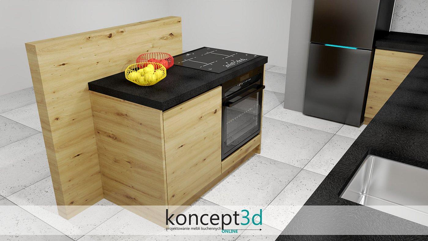 Wolnostojąca zabudowa w formie lady na środku pomieszczenia | koncept3d projekty kuchni