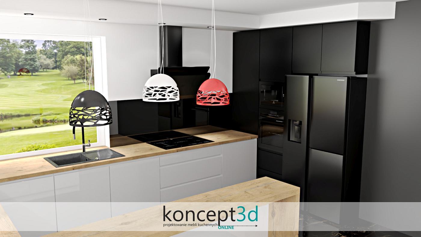 Kuchnia biało czarno drewniana to kwintesencja doskonałości | projekty koncept3d