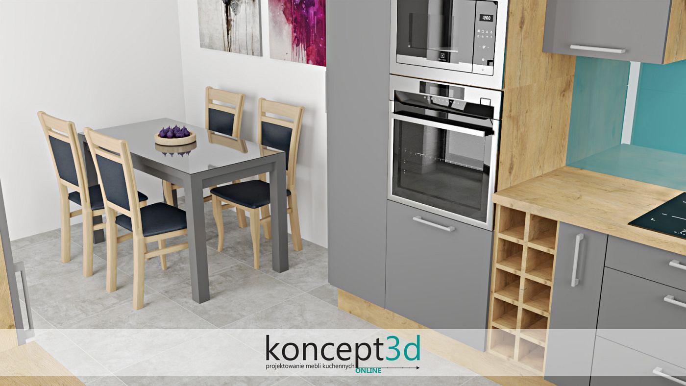 Nowoczesny stół w szarej kuchni z drewnem