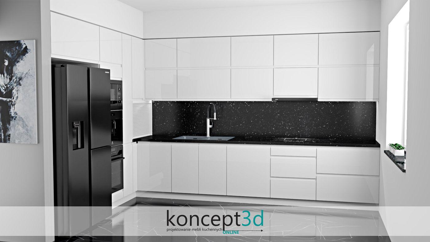 Aranżacja czarnego sprzętu AGD z białymi połyskowymi meblami kuchennymi | koncept3d projekty kuchni