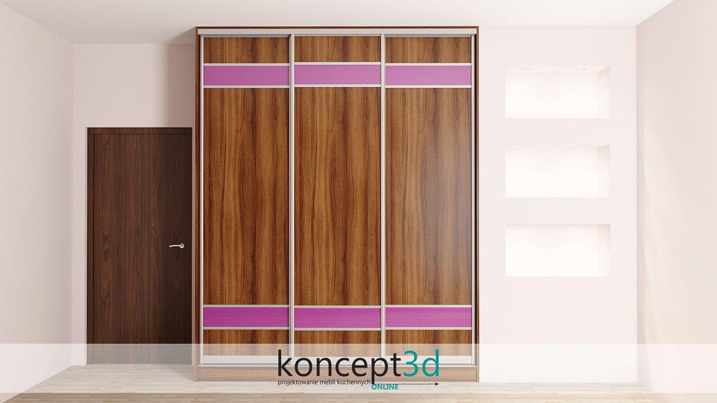 Troje drzwi przesuwnych z fioletowymi wstawkami i drewnem | koncept3d projekty kuchni