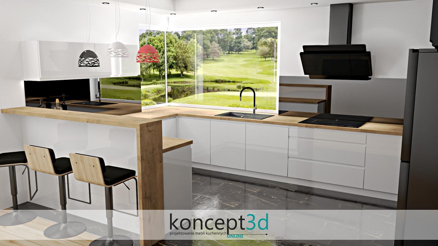 Duże okno narożne dodaje kuchni niepowtarzalności. Krótko mówiąc nowoczesna kuchnia w pełnej okazałości | koncept3d projekty kuchni