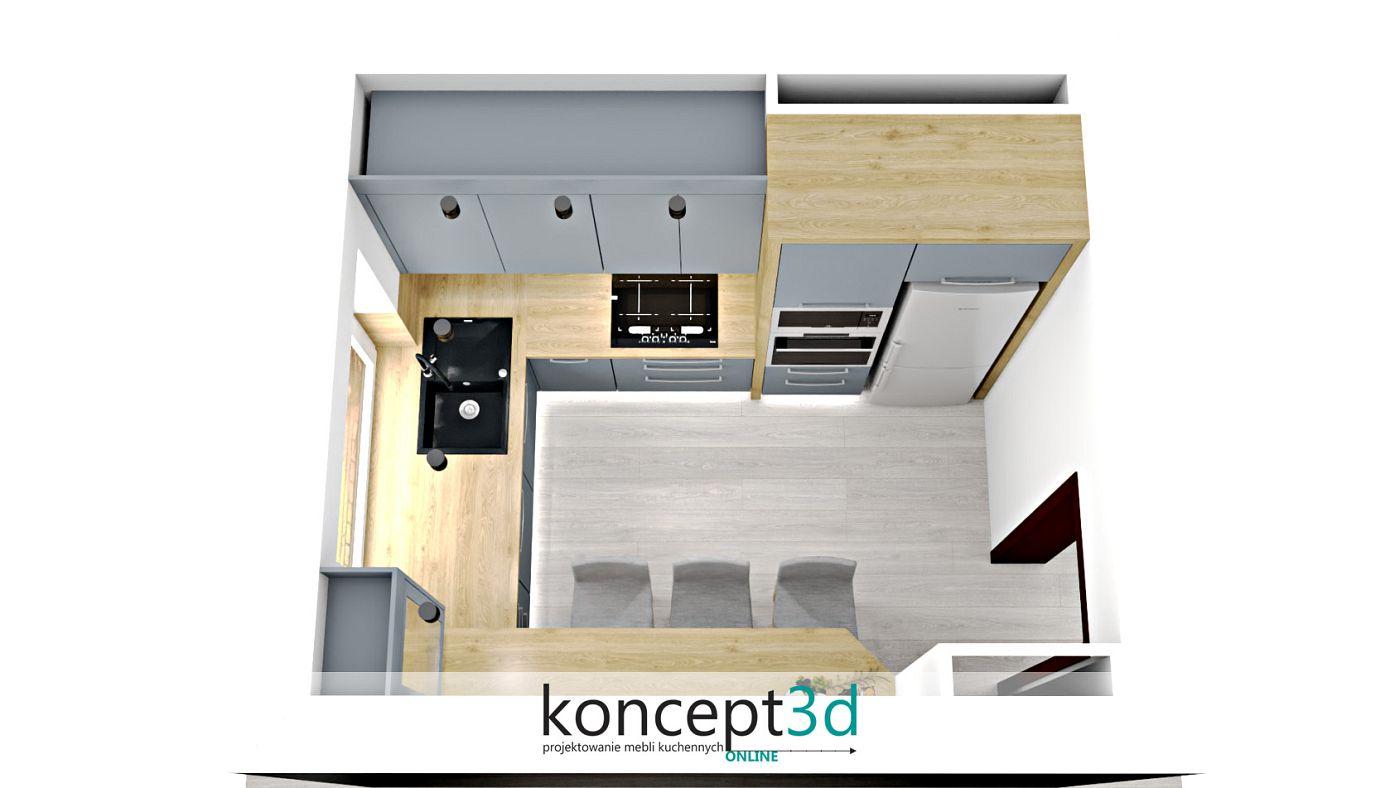 Plan z góry na projekt ciekawej popielatej kuchni