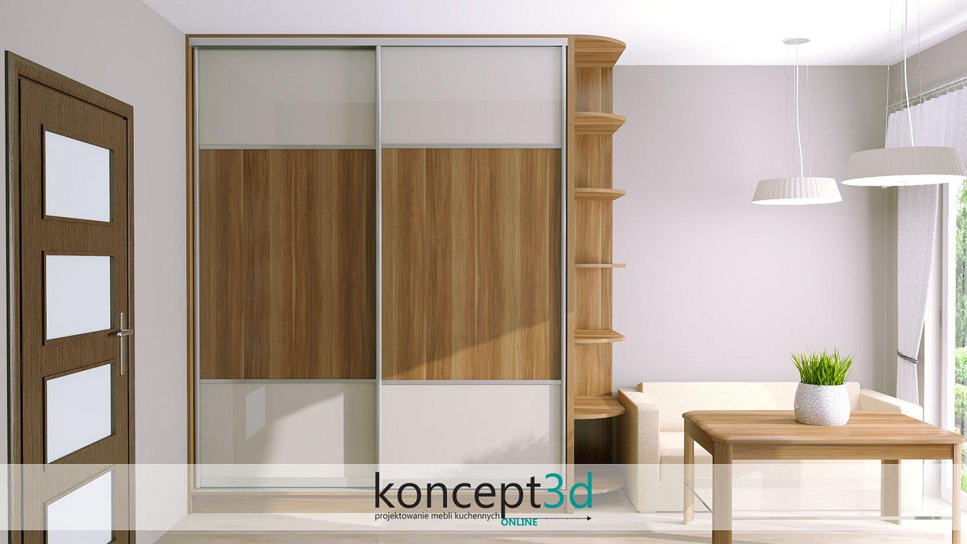 Wysokie drzwi dzielone drewnianą wstawką w środku. Szafa przesuwna zakończona jest z prawej strony otwartymi półkami | koncept3d