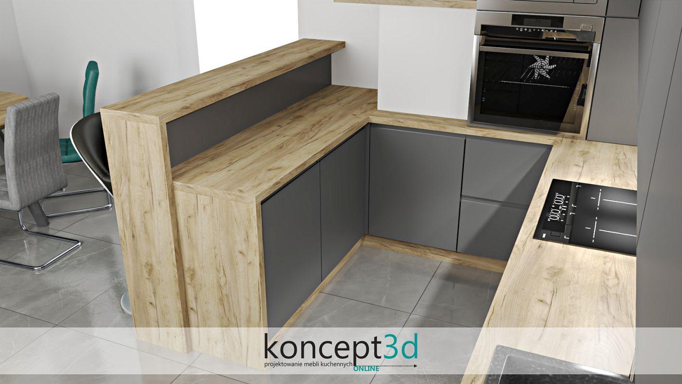 Antracytowy półwysep z drewnianą ladą barową | projekty kuchni koncept3d