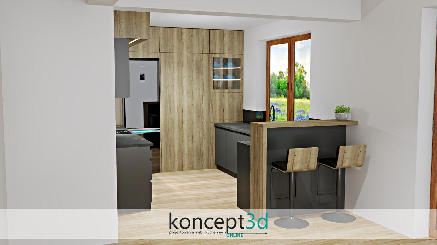 W szarej kuchni z drewnem świetnym roziązaniem może stać się zastosowanie półwyspu   koncept3d projekty kuchni