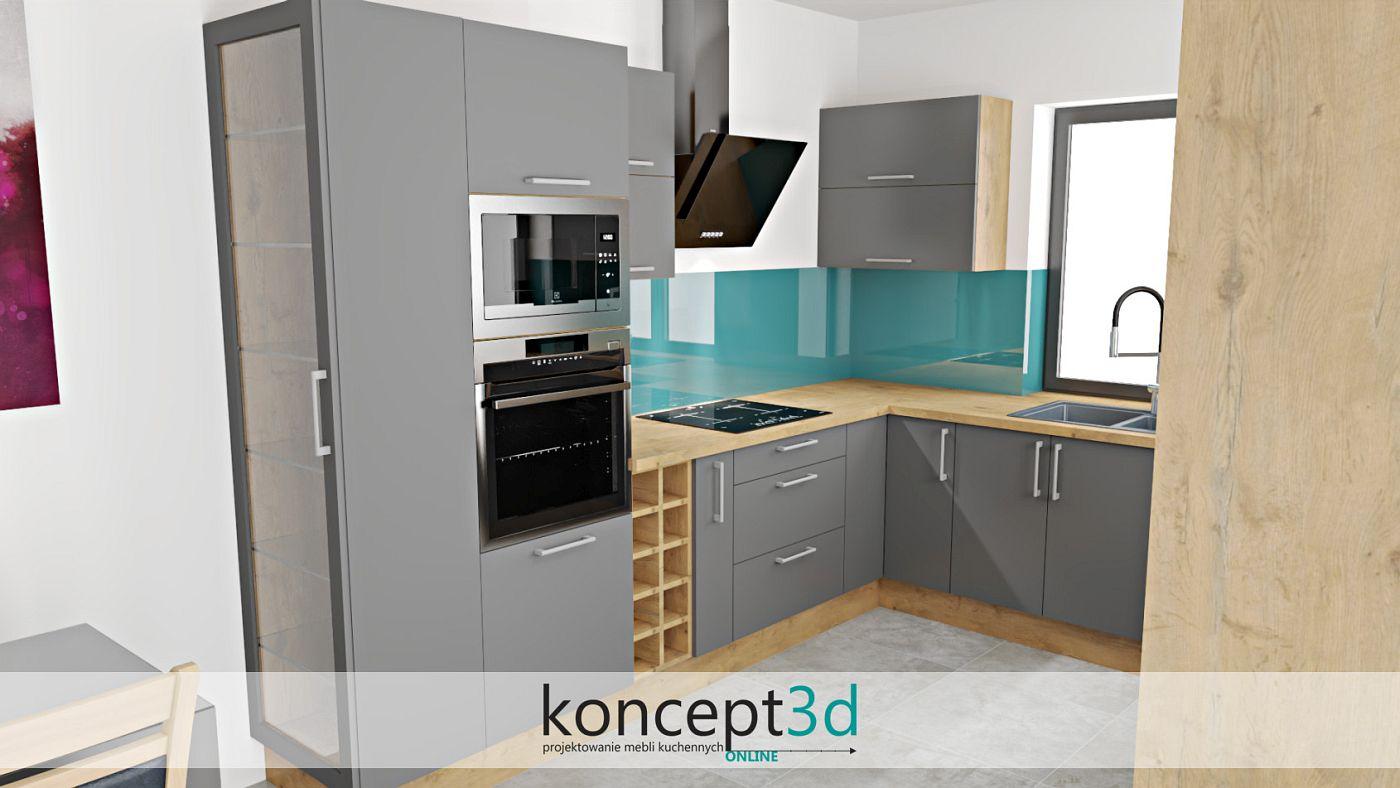 Szara kuchnia z przeszkloną witrynką na końcu zabudowy   koncept3d projekty kuchni
